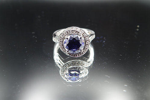 Sterling Silver Blue Stone & CZ Ring