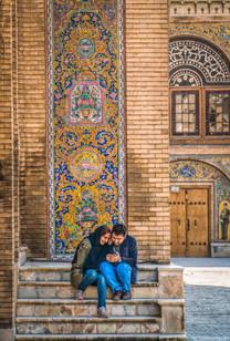 Couple outside Golestan Palace, Tehran