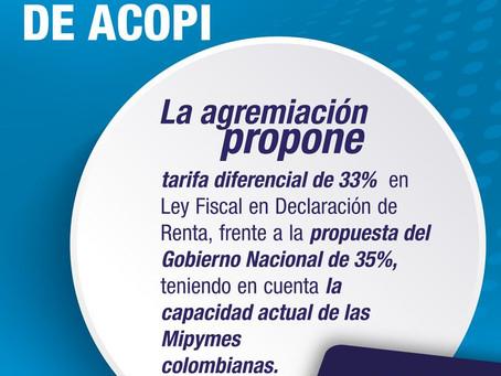 ACOPI propone modificar la tarifa de renta al 33%
