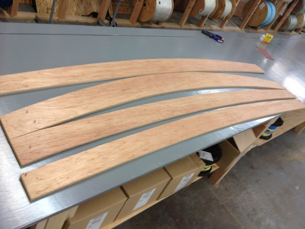 Planks all cut out – two mated sides, good-side to good-side, so bad side is showing, plus template…