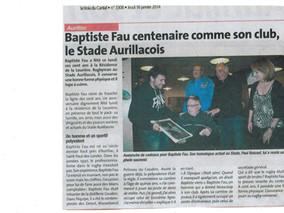 Baptiste Fau centenaire comme son club, le Stade Aurillacois