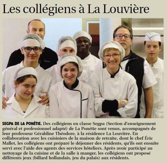 Rencontre intergénérationnelle à La Louvière, EHPAD Aurillac-Cantal