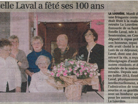 Estelle Laval a fêté ses 100 ans