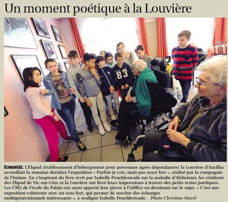 Rencontre culturelle et intergénérationnelle à La Louvière, EHPAD à Aurillac-Cantal