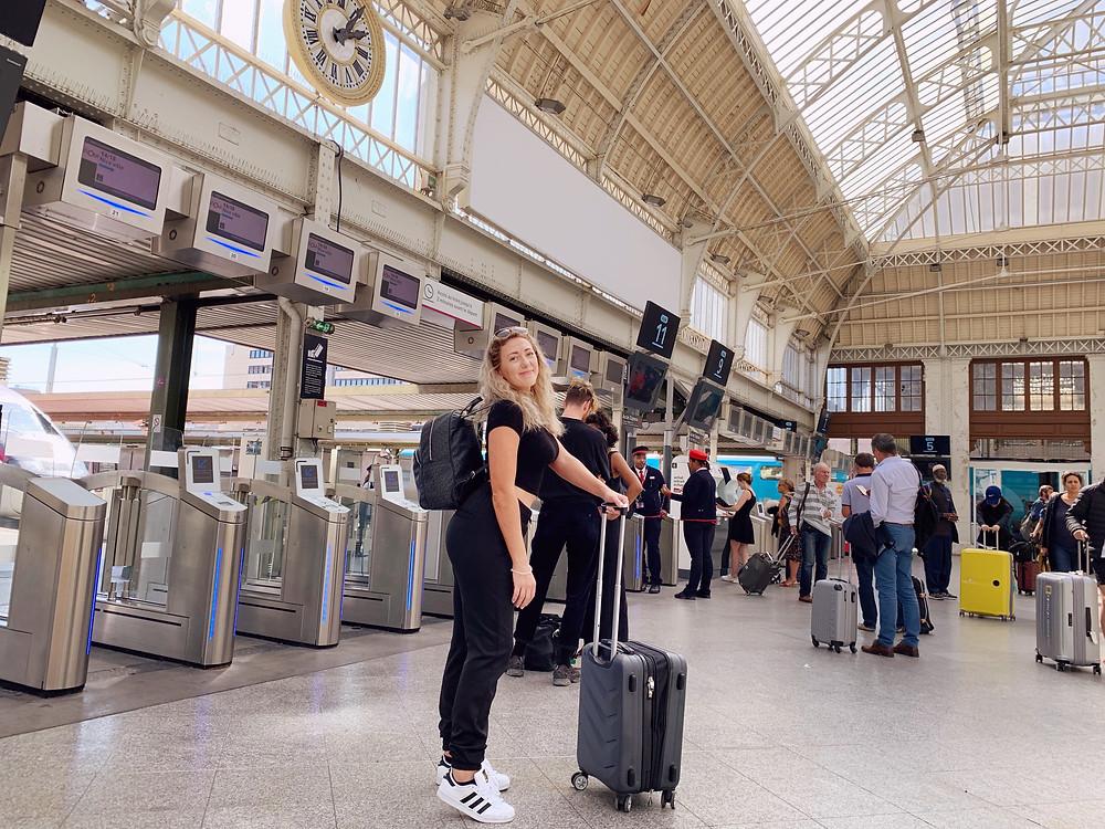 Paris Train Station Study Abroad Trip to France Graduation Trip Girl with Luggage Jazzy Skye Train Trip