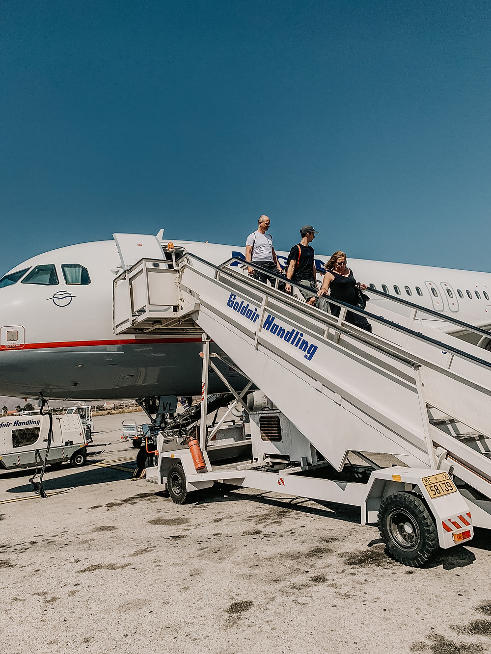 Plane Flight Mobile Staircase Airline Flight Landing with Family