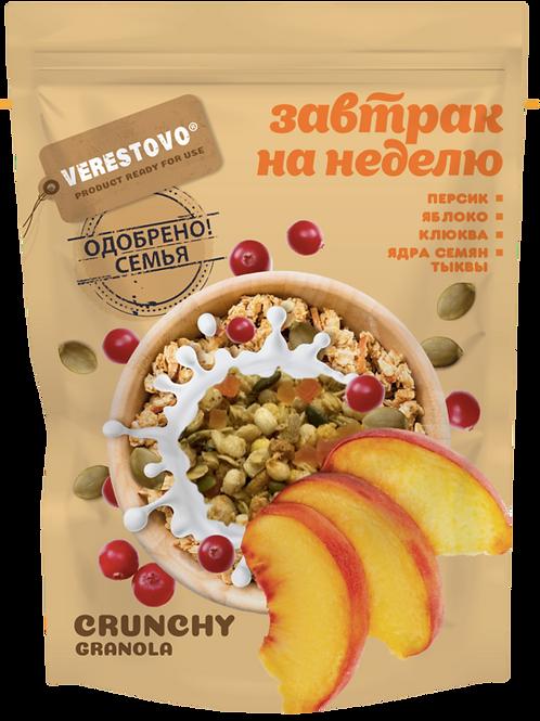 Crunchy Granola Verestovo with Peach, Cranberry and Pumpkin Seeds