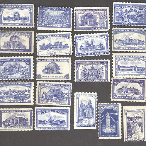 Blue set of all 20 building stamps