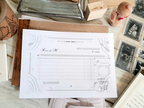 French Vintage Style Receipt Pad