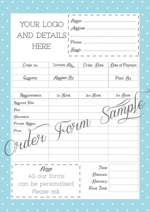 Personalised Printable Order Form  Custom Order Form  Graphic