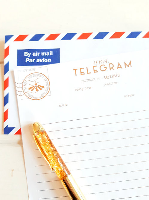 Blank Telegram design with BY AIR MAIL envelope, metallic printing, announcement
