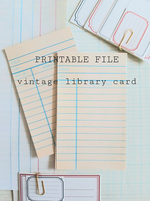 Printable Vintage Library cards,
