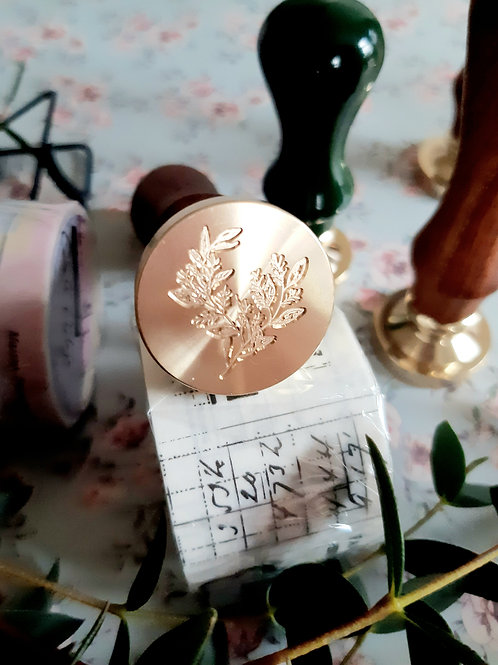 Botanical Wax Seal Stamp with wooden handle