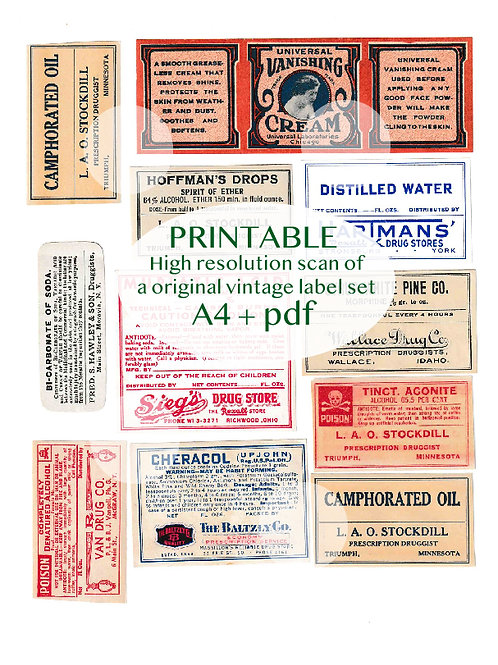 Printable Vintage ephemera - Vintage labels