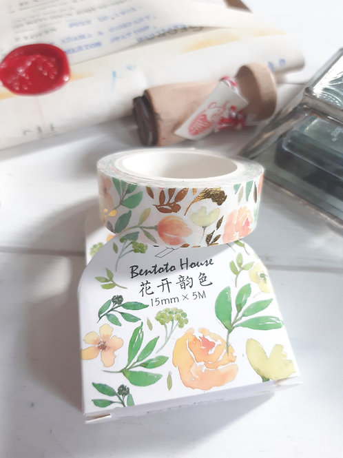 Orange Flowers Washi Tape with Gold inserts