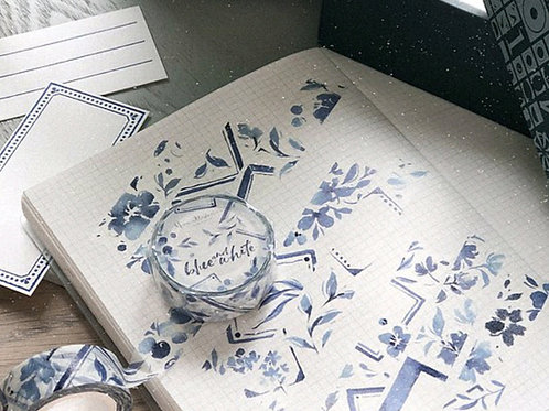 Japanese Paper - Blue and White Paper Tape-Special Oil - Meow Illustrations