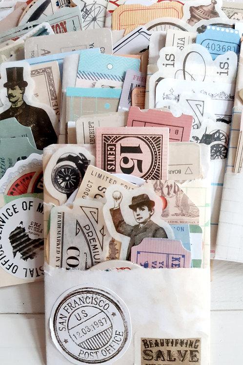 Vintage pockets, vintage ephemera, journaling