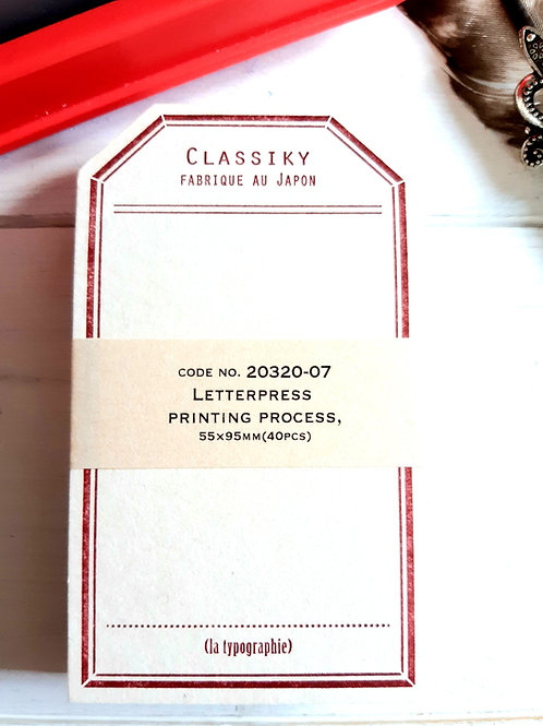 Classiky Letterpress Label Cards - Jujube red