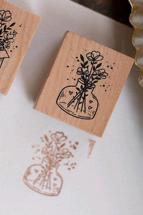 Bottle - Botanical -  Rubber Stamp - Loi Design