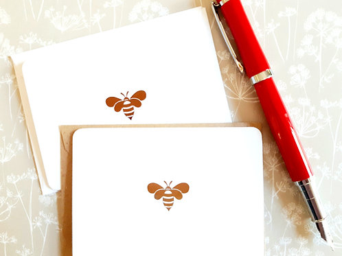 Bees flat cards, metallic foild stationery