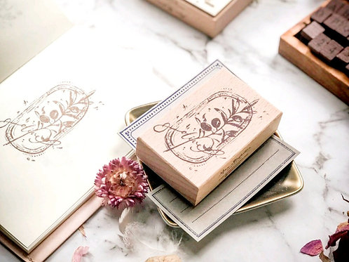 Flower Seal Series - Olive Green - Rubber Stamp