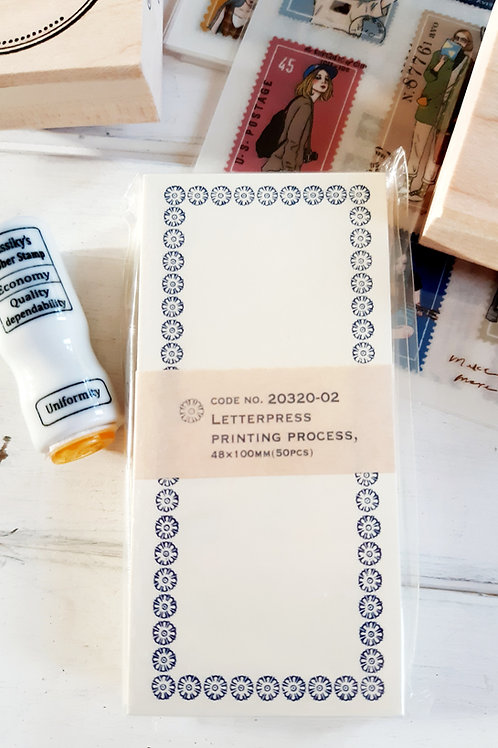 Classiki letterpress memo card - Blue