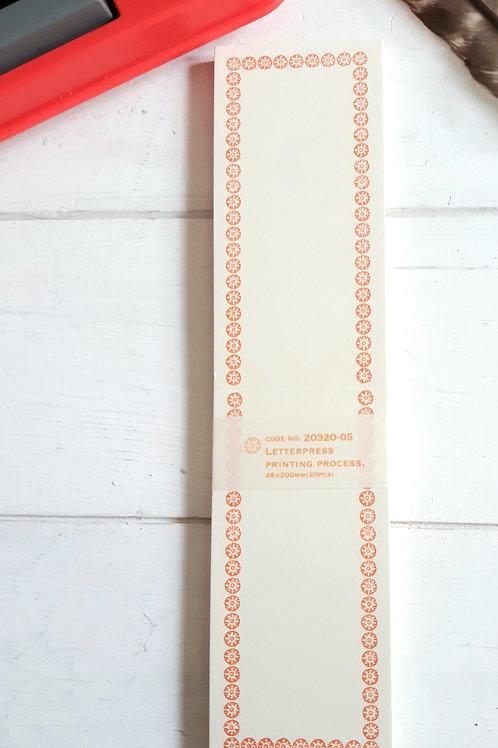 Classiky Letterpress Folded Memo Card - Orange