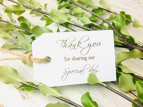 Thank you tags, Wedding Favour tags, Wedding day, Set of 10,