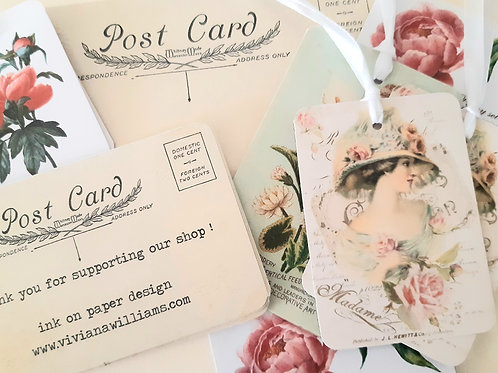 Pack of 15 vintage style cards and tags