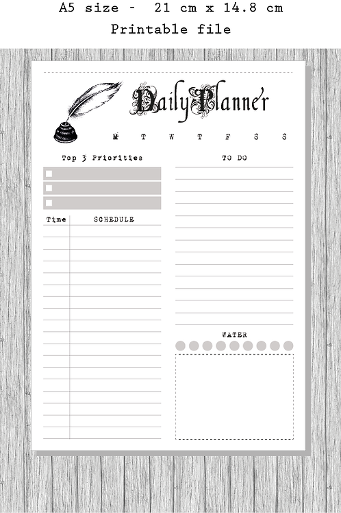Printable Retro Style Planner, Daily Planner