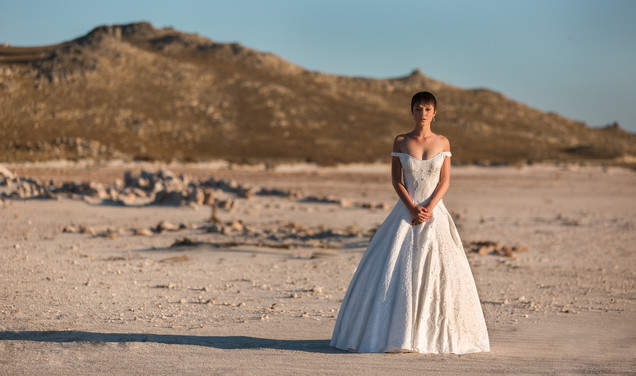 Beautiful bride in her wedding dress on her wedding day standing in the middle of the Karoo in the empty Theewaterskloof Dam. Edited with Brown and Autumn colours.