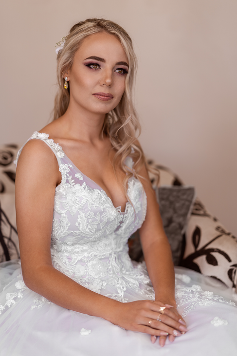 This beautiful bride just before the Ceremony.