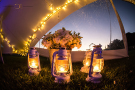 Blue Bay Lodge, Saldanha Bay, Small intimate tented reception with lanterns and fairy lights.