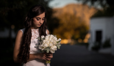 Beautiful bride in her wedding dress on her wedding day admiring her bouquet on the well-known Lanzerac Wine Estate in Stellenbosch, Cape Town. Edited with Brown and Autumn colours.