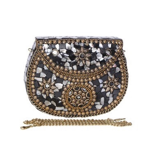 Black and Gold Mosaic Clutch