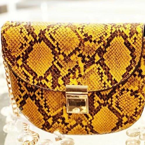 Mustard Snake Skinned Shoulder Bag
