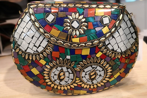 Multi Color Mosaic Clutch