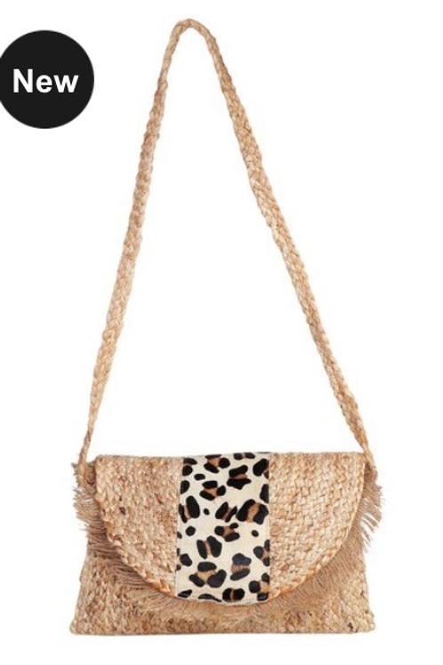 Leopard Straw Clutch