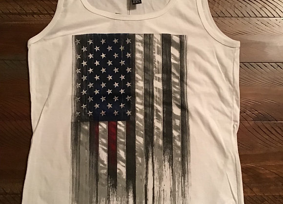 American Flag Heartbeat Ladies Tank Top