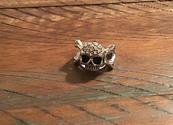 Rhinestone Skull & Bones Ring