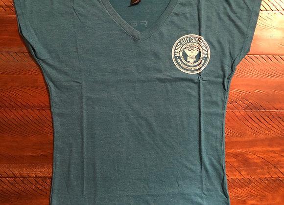 Ladies Teal Vneck Tshirt