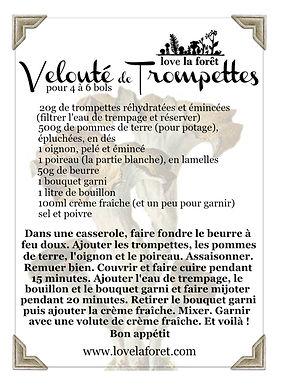 recette velouté de trompettes champignons sauvages français Love la Forêt