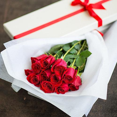 BOXED DOZEN RED ROSES
