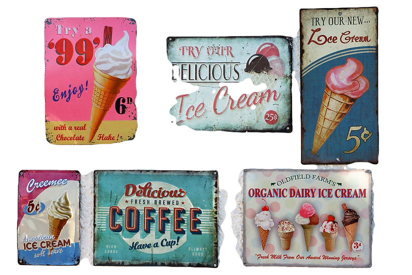 classic ice cream &gelato signs