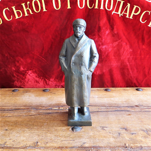 Statue Lenin In Wintercoat And Cap