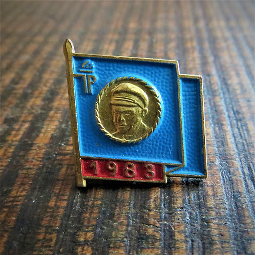 Pin DDR Pin Young Pioneers Blue Flag 1983
