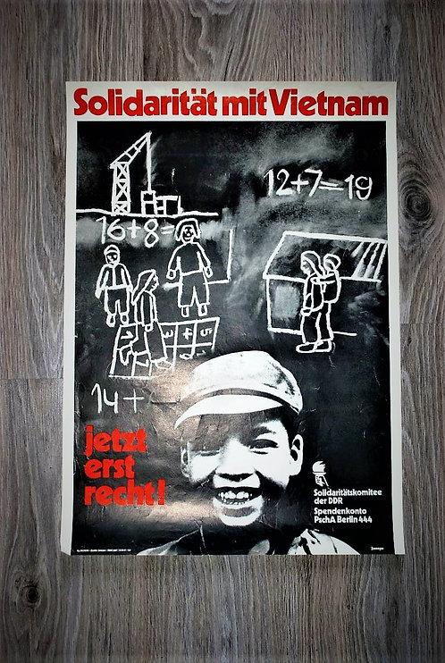 Poster DDR Solidaritat Mit Vietnam 1970's