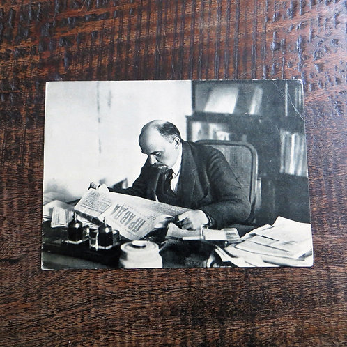 Postcard Soviet Russia Lenin Reading Newspaper