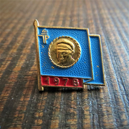 Pin DDR Pin Young Pioneers Blue Flag 1978