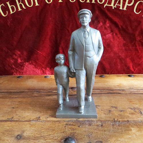 Statue Lenin Walking With Nephew Victor